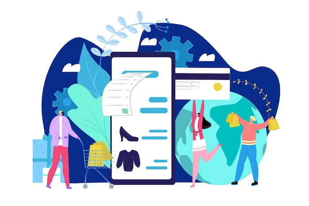 Concepto de tarjeta de pago, personas con tarjeta de crédito y teléfono y haciendo compras en línea ilustración. pagar transacción electrónica. clientes que pagan dinero en terminal de comercio electrónico.