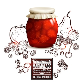Concepto de tarro de mermelada