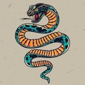 Concepto de tatuaje colorido serpiente venenosa
