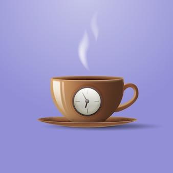Concepto de una taza de café en forma de reloj despertador.
