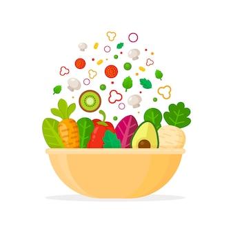 Concepto de tazón de frutas y ensaladas