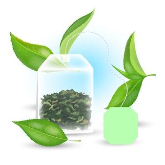 Concepto de té verde con bolsita rectangular y hojas realistas. ilustración.