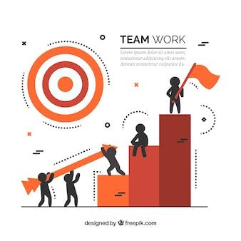 Concepto de teamwork con barras