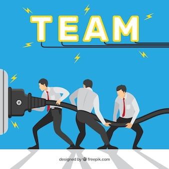 Concepto de teamwork con cable