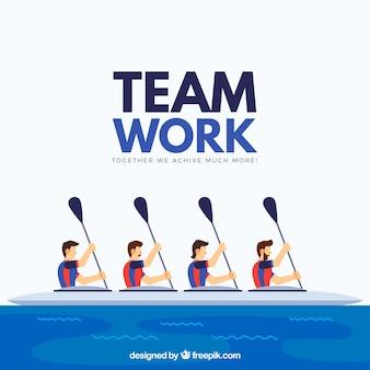 Concepto de teamwork con canoa