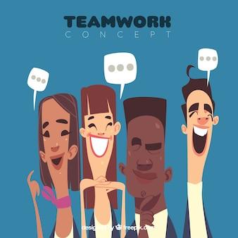 Concepto de teamwork en estilo de caricatura
