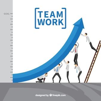 Concepto de teamwork con flecha