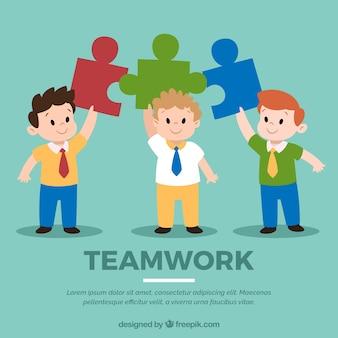 Concepto de teamwork con gente llevando puzzle