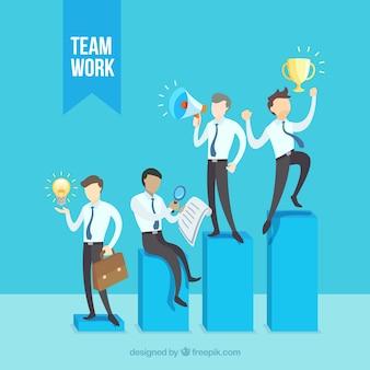 Concepto de teamwork con gente de negocios en barras