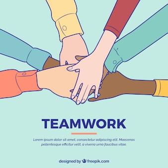 Concepto de teamwork con manos