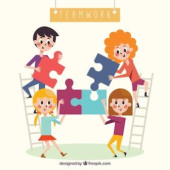 Concepto de teamwork con piezas de puzzle