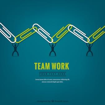 Concepto de teamwork con sujetapapeles