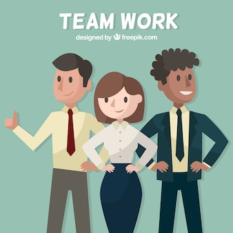 Concepto de teamwork con tres personas