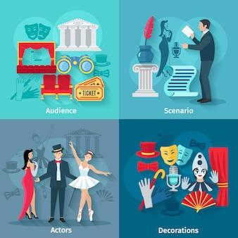 Concepto de teatro con actores y decorados de escenario de audiencia