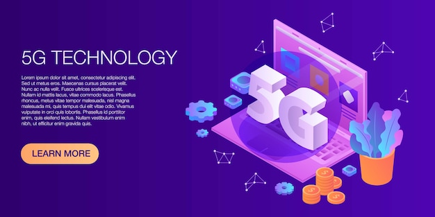Concepto de tecnología 5g banner, estilo isométrico