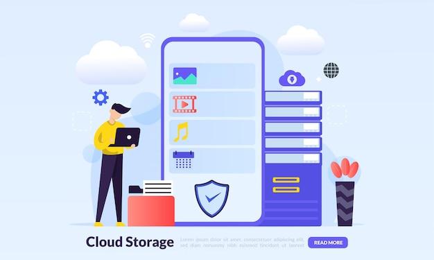 Concepto de tecnología de almacenamiento en la nube
