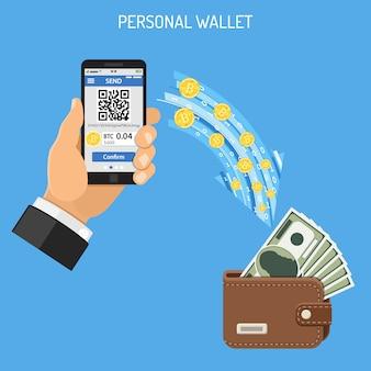 Concepto de tecnología de bitcoin de moneda crypto