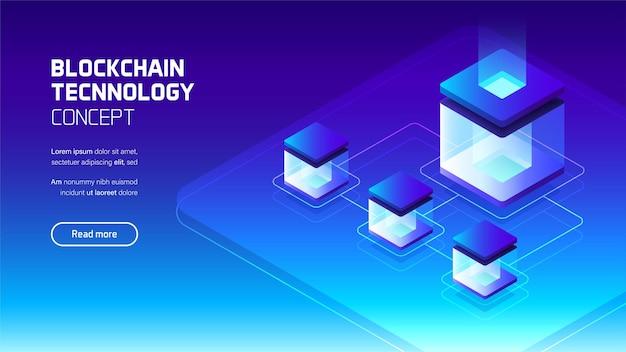 Concepto de tecnología blockchain, conexión a internet