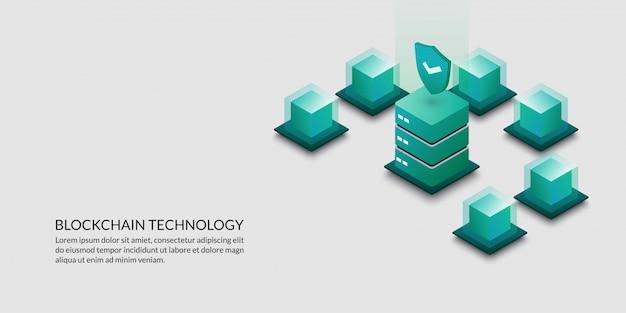 Concepto de tecnología blockchain, criptografía de datos de seguridad