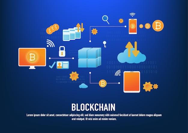 Concepto de tecnología blockchain con iconos