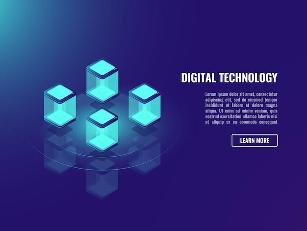 Concepto de tecnología blockhacin, intercambio de datos, almacenamiento de información en la nube,