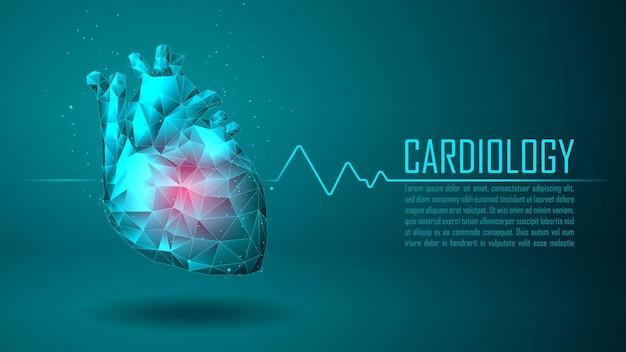 Concepto de tecnología de cardiología atención médica con plantilla de texto de muestra