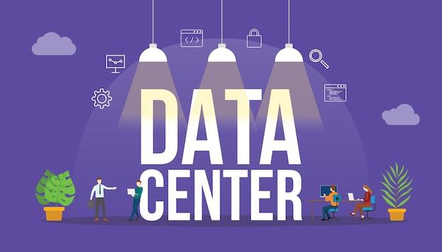 Concepto de tecnología de centro de datos con personas y palabra de texto grande e icono relacionado