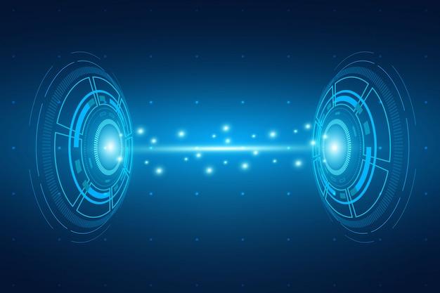 Concepto de tecnología de ciencia futurista, visualización de intercambio de datos grandes