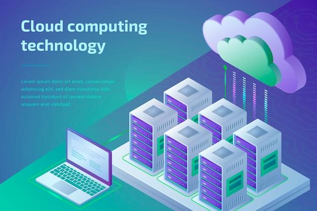 Concepto de tecnología de computación en la nube y sala de servidores. plantilla de página de aterrizaje. ilustración isométrica 3d