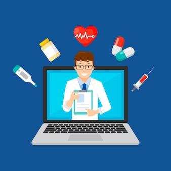 Concepto de tecnología de doctor en línea