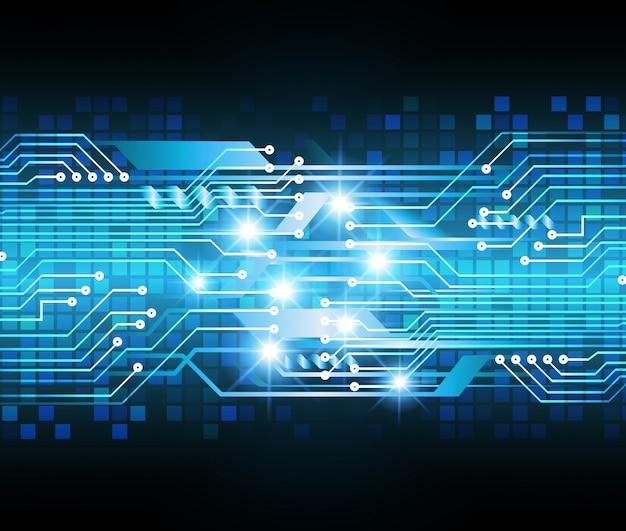 Concepto de tecnología futura de circuito cibernético azul