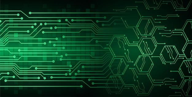 Concepto de tecnología futura del circuito cibernético verde