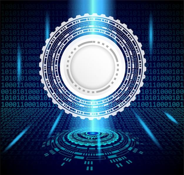 Concepto de tecnología futurista. rueda dentada, números de código binario. fondo de tecnología