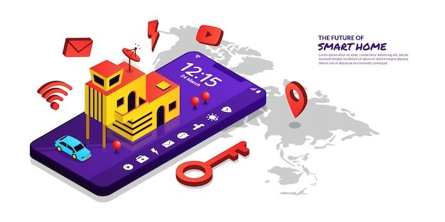 Concepto de tecnología de hogar inteligente control remoto del hogar por aplicación de teléfono inteligente