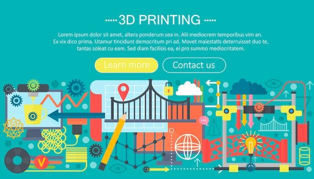 Concepto de tecnología de impresora 3d plana