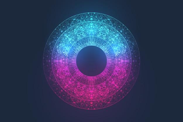 Concepto de tecnología informática cuántica. aprendizaje profundo de inteligencia artificial.