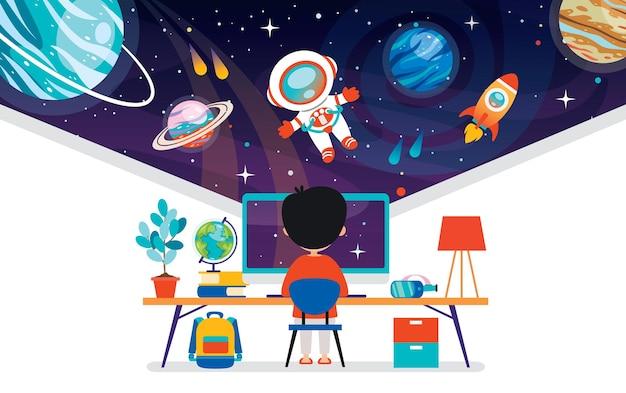 Concepto de tecnología informática para la educación y los negocios