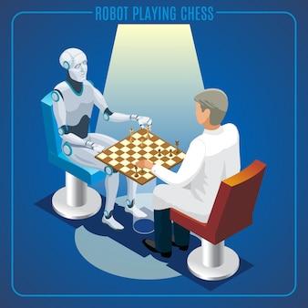 Concepto de tecnología de inteligencia artificial isométrica de robot jugando al ajedrez con científico aislado