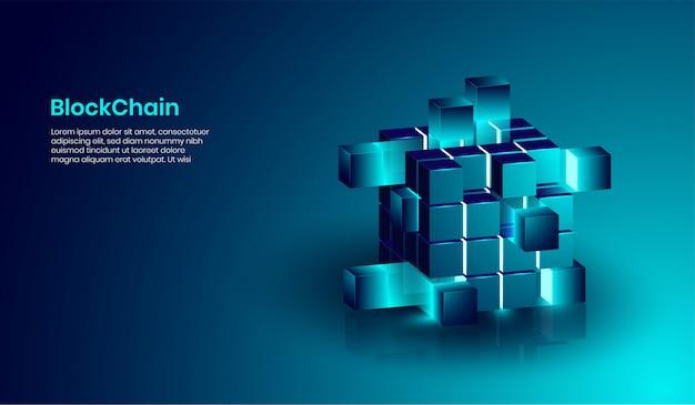 Concepto de tecnología isométrica de blockchain y criptomoneda.