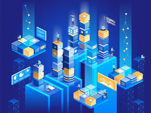 Concepto de tecnología isométrica. conexión de bloques digitales entre sí.