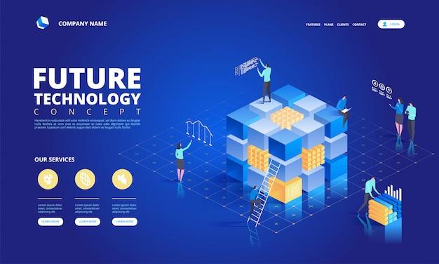 Concepto de tecnología isométrica. futuro abstracto de alta tecnología