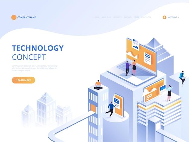 Concepto de tecnología isométrica. servicios de ti. información en línea. seguridad de internet.