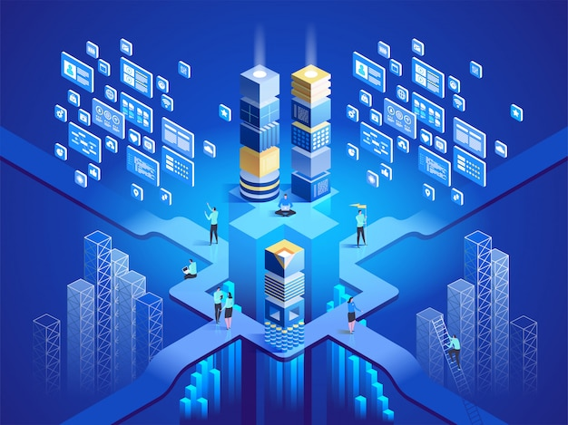 Concepto de tecnología isométrica. software, desarrollo web, programación. ilustración