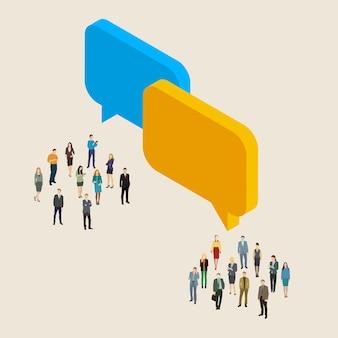 Concepto de tecnología en línea de internet. grupos de micropersonas y letreros de llamada de chat.