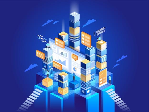 Concepto de tecnología de marketing digital y desarrollo de aplicaciones. personas que interactúan con gráficos y analizan estadísticas. visualización de datos. ilustración isométrica.