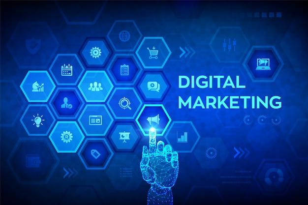 Concepto de tecnología de marketing digital en pantalla virtual. mano robótica conmovedora interfaz digital.