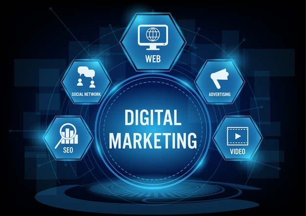 Concepto de tecnología de marketing digital
