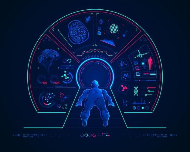 Concepto de tecnología médica con resonancia magnética.