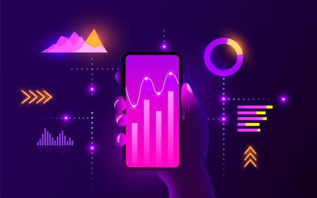 Concepto de tecnología móvil de alta tecnología futurista análisis de gráficos de tendencias del mercado mano sostiene el teléfono inteligente