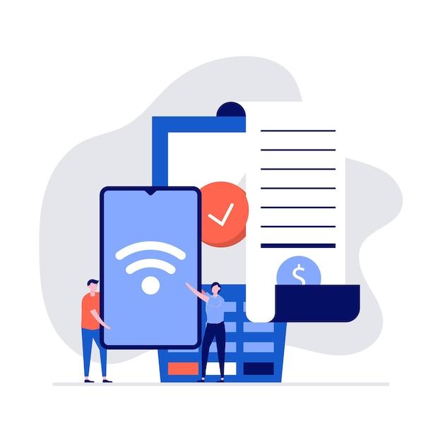 Concepto de tecnología nfc con personajes, factura, teléfono inteligente, tarjeta de crédito y terminal de punto de venta.